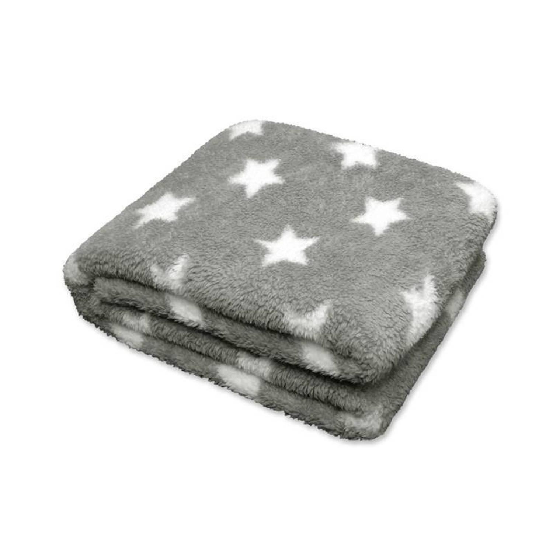 Unique Living Stars fleece plaid - 100% polyester, Fleece polyester - 150x200 cm - Grijs