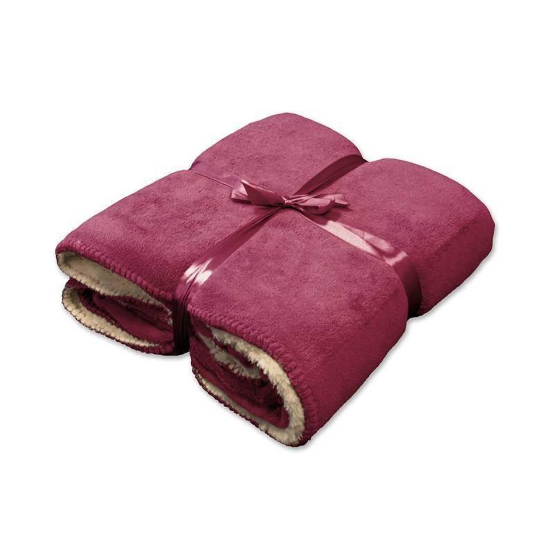 Unique Living Coby fleece plaid - 100% polyester, Fleece polyester - 130x160 cm - Roze, Mesa Rosa