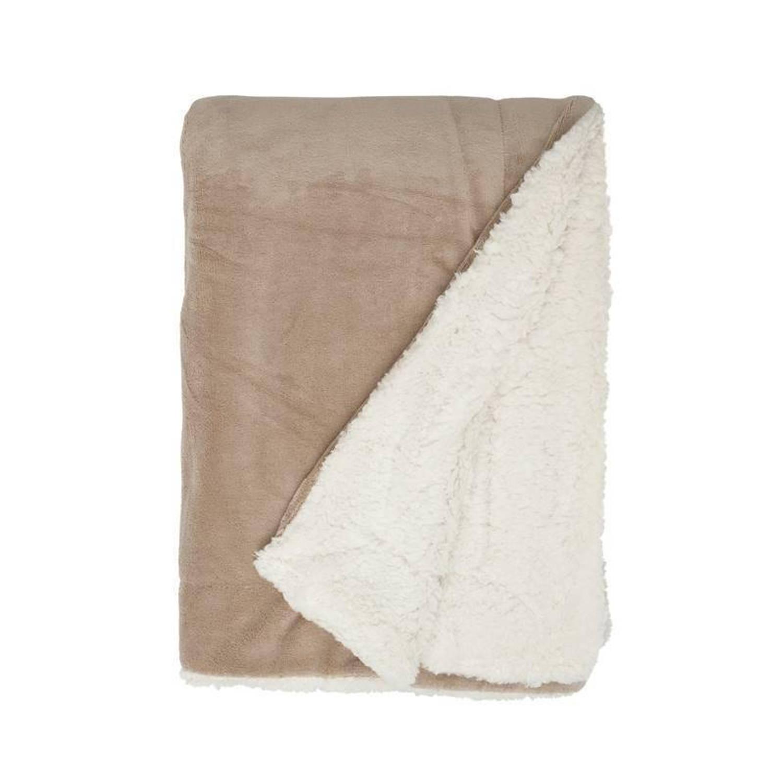 Unique Living Lars fleece plaid XL - 100% polyester, Fleece polyester - 220x240 cm - Taupe