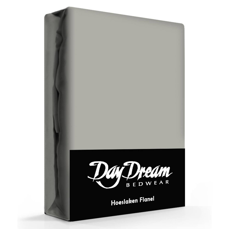 Flanellen Hoeslaken Grijs Day Dream-90 x 200 cm