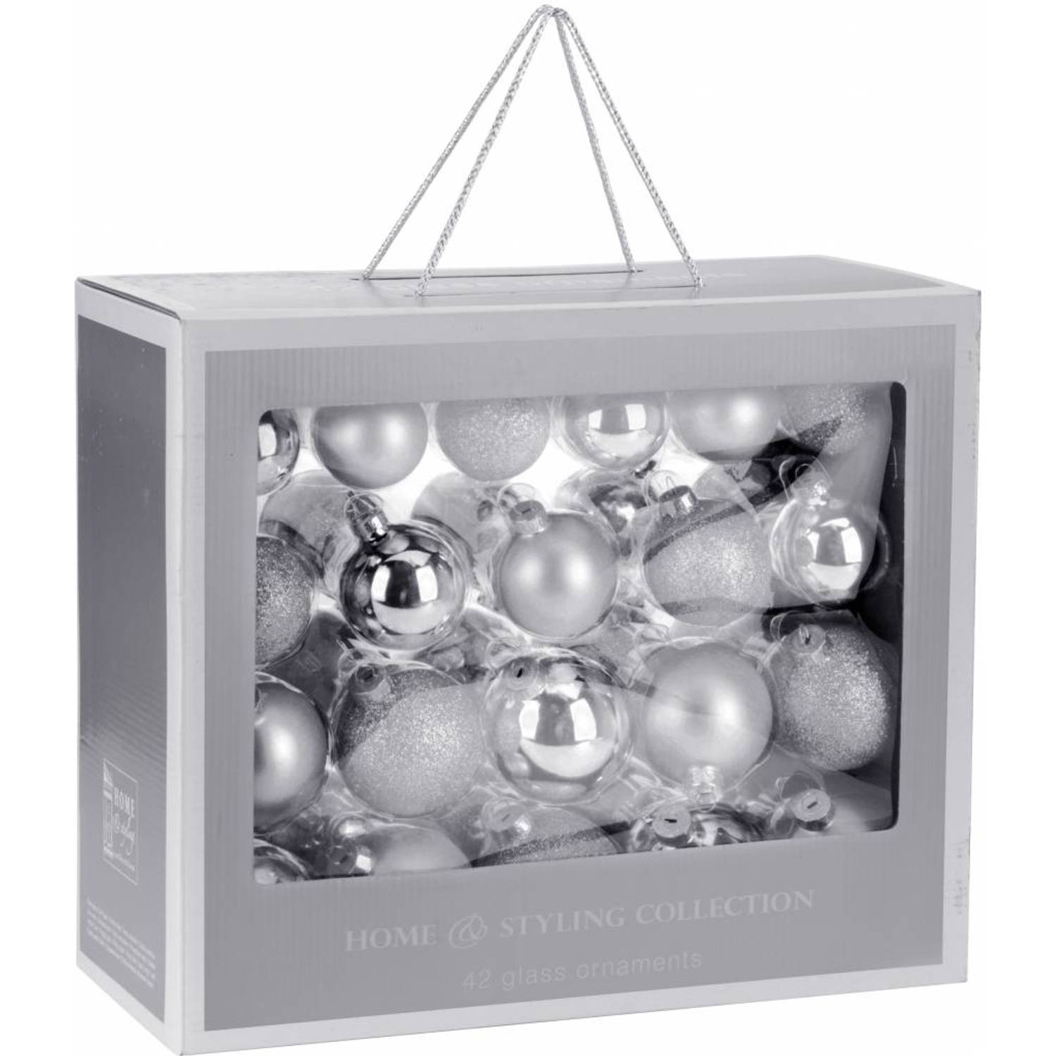 Home & Styling Collection 42-Delige glazen kerstballen set Zilver