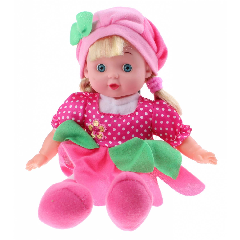 Afbeelding van Johntoy Baby Rose pop roze met stippen 30 cm