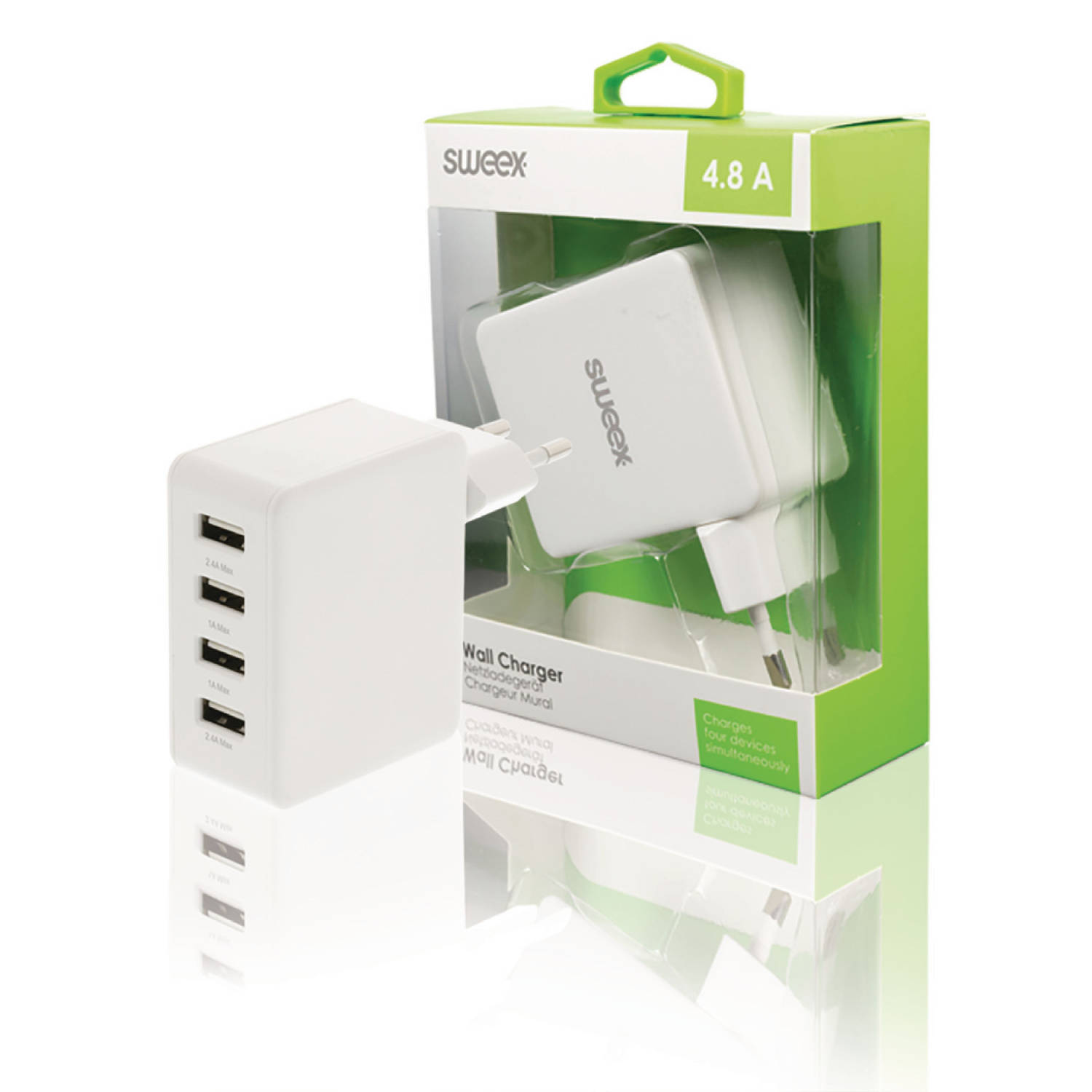 Lader 4 4.8 A USB Wit