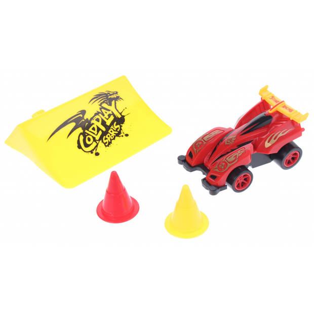 Toi-Toys raceauto met schans 8 cm rood