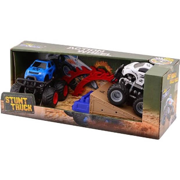 Johntoy Off-road stunt racers in doos blauw/wit