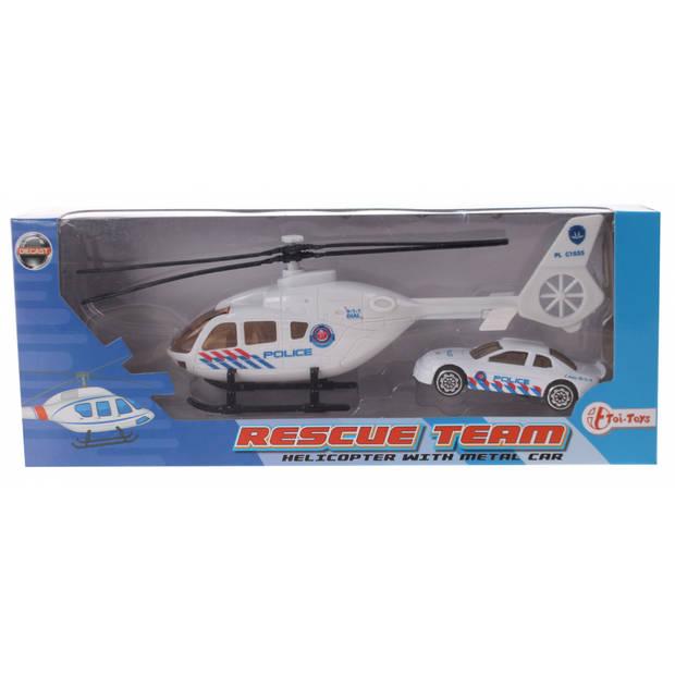 Toi-Toys Rescue Team set helikopter met auto wit politie