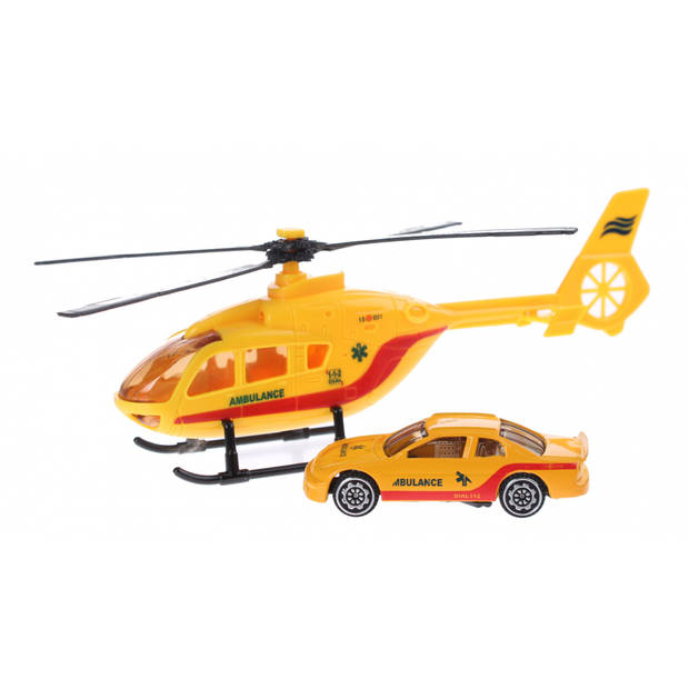 Toi-Toys Rescue Team set helikopter met auto geel ambulance