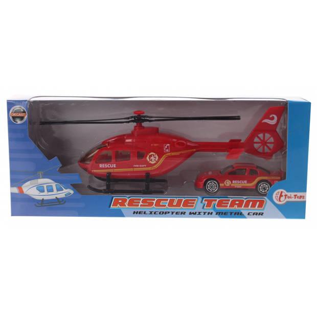 Toi-Toys Rescue Team set helikopter met auto rood brandweer
