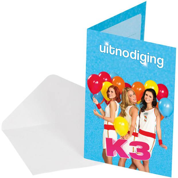 Studio 100 uitnodigingen K3 meisjes 16 x 11 cm karton 8 stuks
