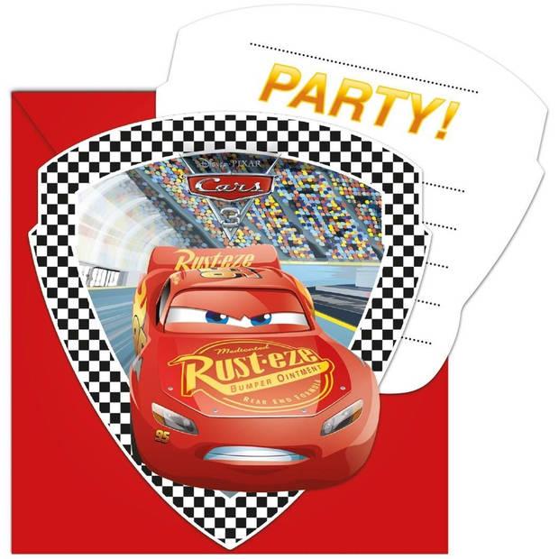 Disney uitnodigingen Cars 3 rood 6 stuks
