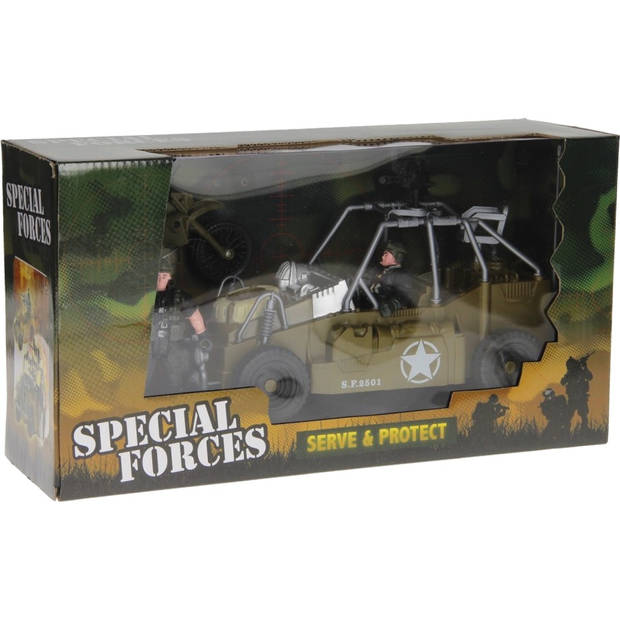 Johntoy speelset Army Forces jeep groen