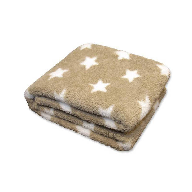Unique Living Stars fleece plaid - 100% polyester - 150x200 cm - Stone