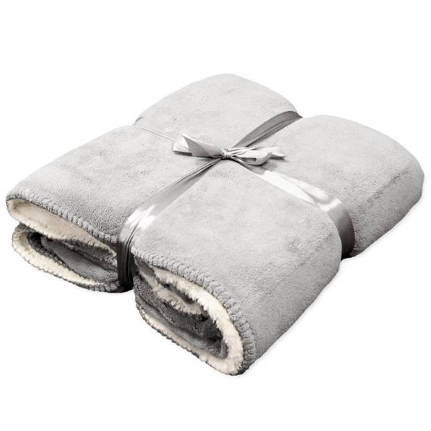 Unique Living Coby fleece plaid - Fleece polyester - 130x160 cm - Pebble
