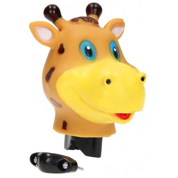 Johntoy fietstoeter giraffe oranje/bruin 9 cm