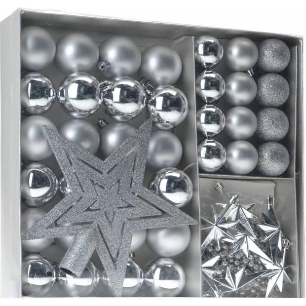 Home & styling collection 45-delige plastic kerstballen set zilver