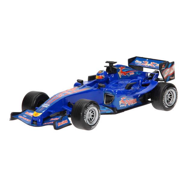 Johntoy raceauto Super Max blauw licht en geluid 28 cm