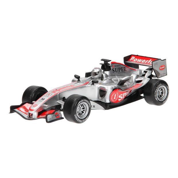Johntoy raceauto Super Max zilver licht en geluid 28 cm