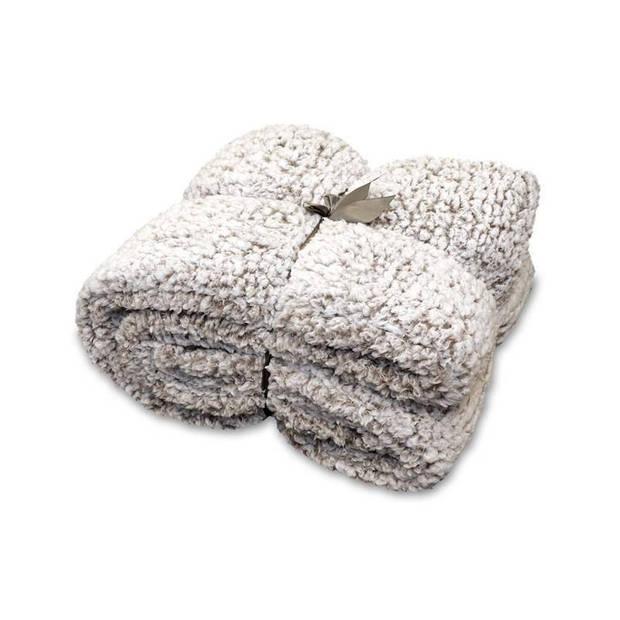 Unique Living Knut fleece plaid - 100% polyester - 150x200 cm - Taupe