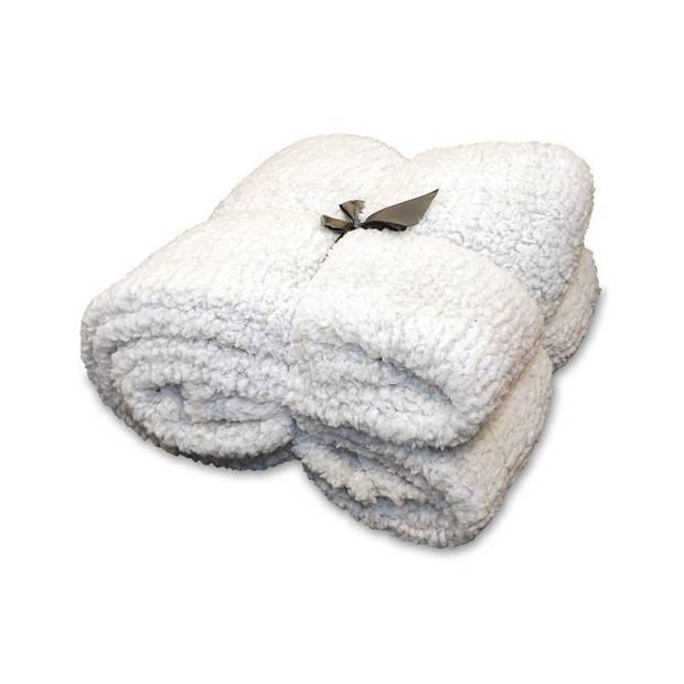 Unique Living Knut fleece plaid - 100% polyester - 150x200 cm - Pebble