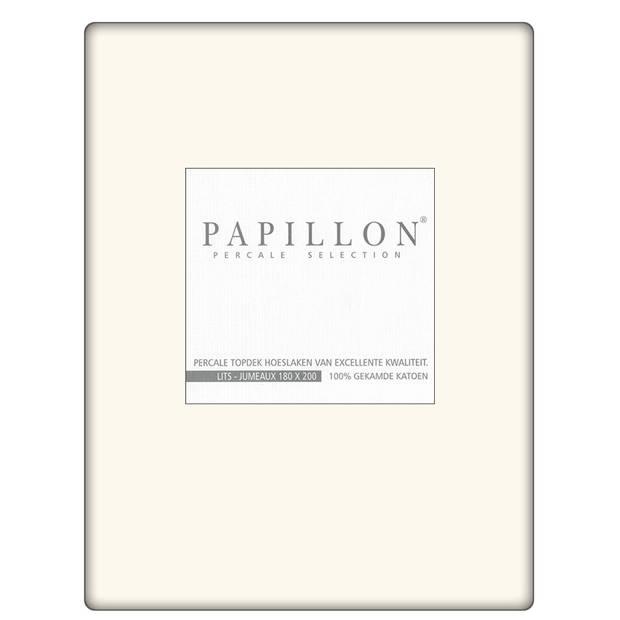 Topdek hoeslaken Percal Papillon Ecru-180 x 220 cm
