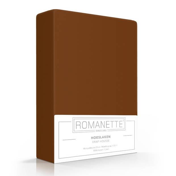 Romanette Hoeslaken Katoen Bruin-180 x 220 cm