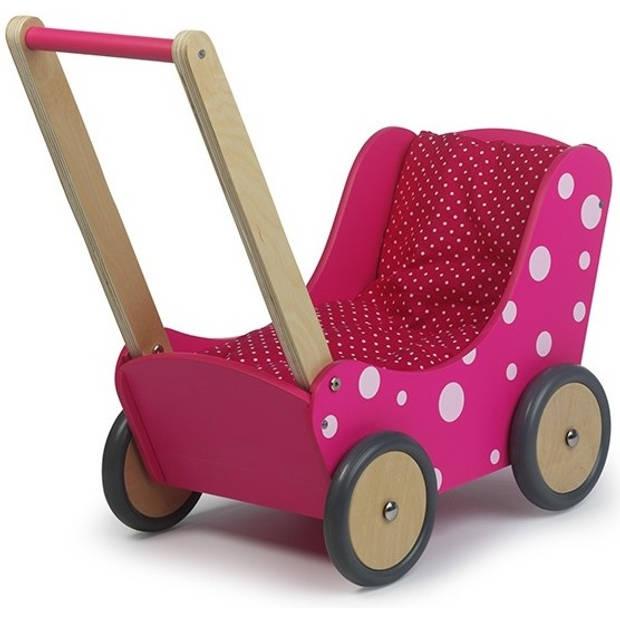 Simply for Kids Poppenwagen roze stip 60x32x55 cm