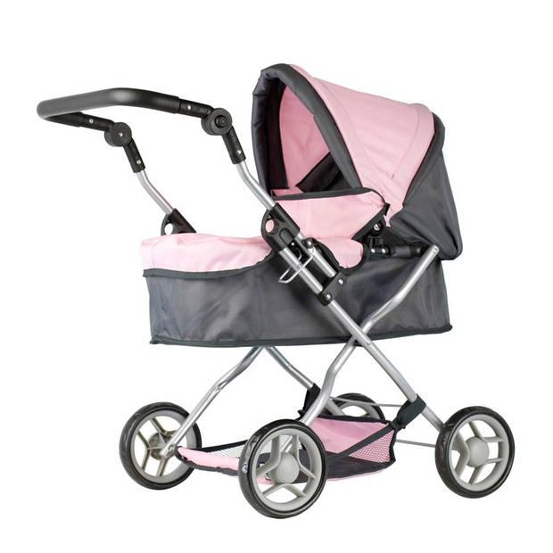 Mini Mommy poppenwagen roze/grijs 63,5 x 42 x 70 cm