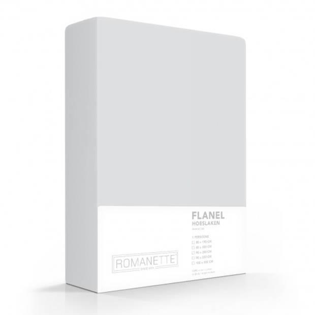 Flanellen Hoeslaken Zilver Romanette-180 x 220 cm