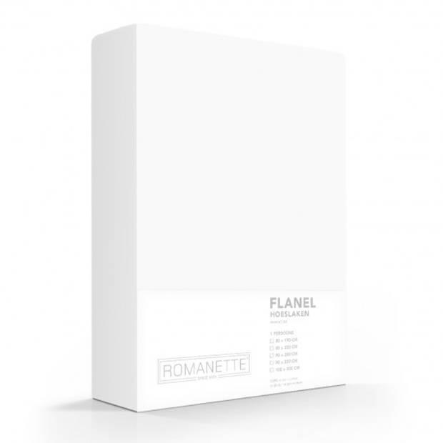 Flanellen Hoeslaken Wit Romanette-200 x 220 cm