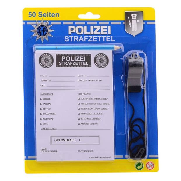 Johntoy bonnenboekje politie met potlood en fluit Duits