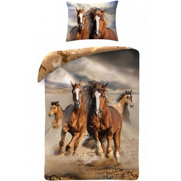 Paarden - dekbedovertrek - eenpersoons - 140 x 200 cm - multi