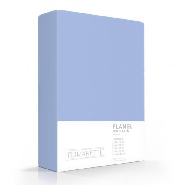 Flanellen Hoeslaken Blauw Romanette-160 x 220 cm