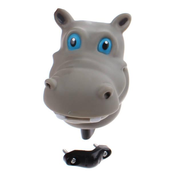 Johntoy fietstoeter nijlpaard grijs 9 cm