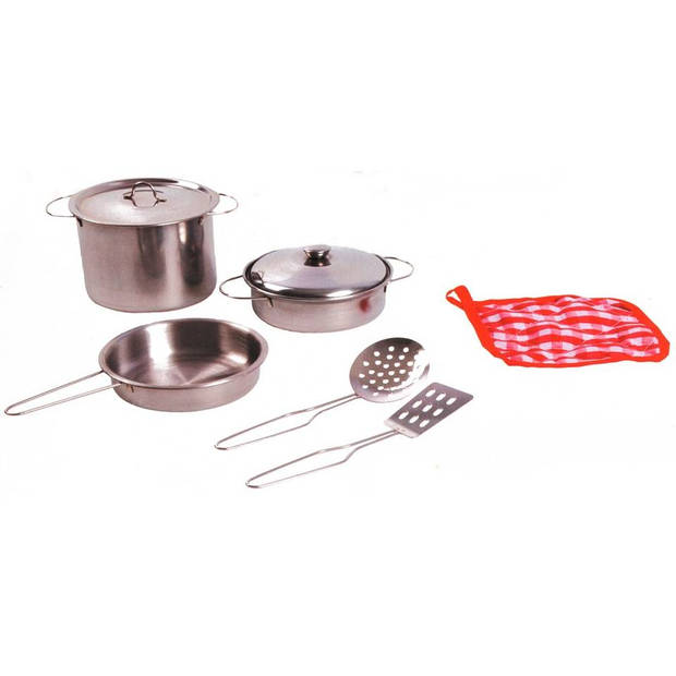 Johntoy home and kitchen stalen pannenset 8-delig