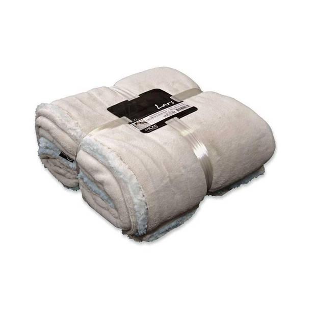 Unique Living Lars fleece plaid - 100% polyester - 150x200 cm - Pebble