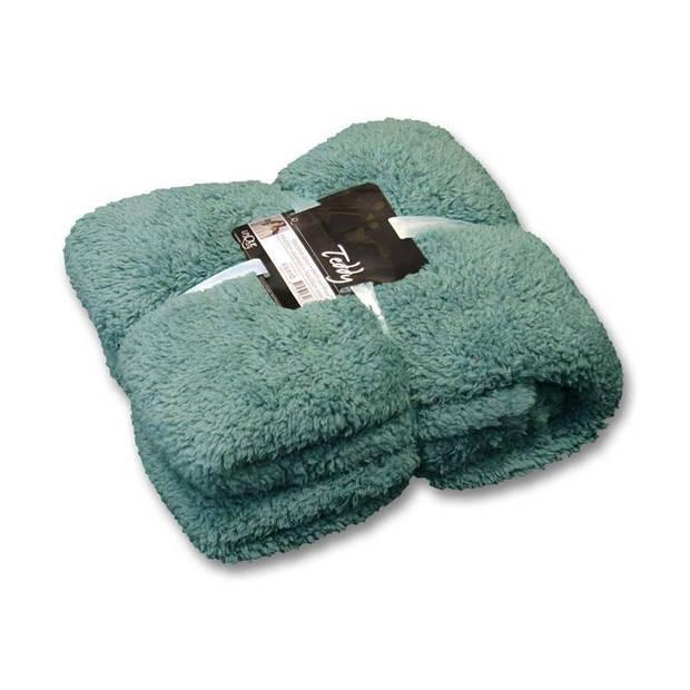 Unique Living Teddy fleece plaid - Fleece polyester - 150x200 cm - Mineral Blue