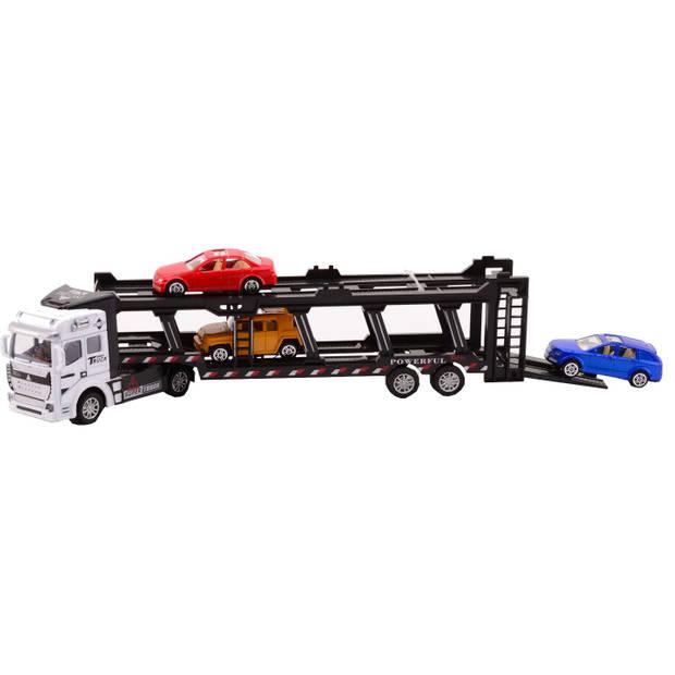 Johntoy autotransporter Super Cars met 3 auto's 31.5 cm wit