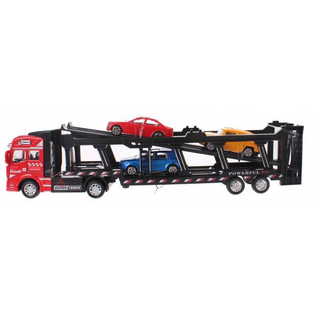Johntoy autotransporter Super Cars met 3 auto's 31.5 cm rood