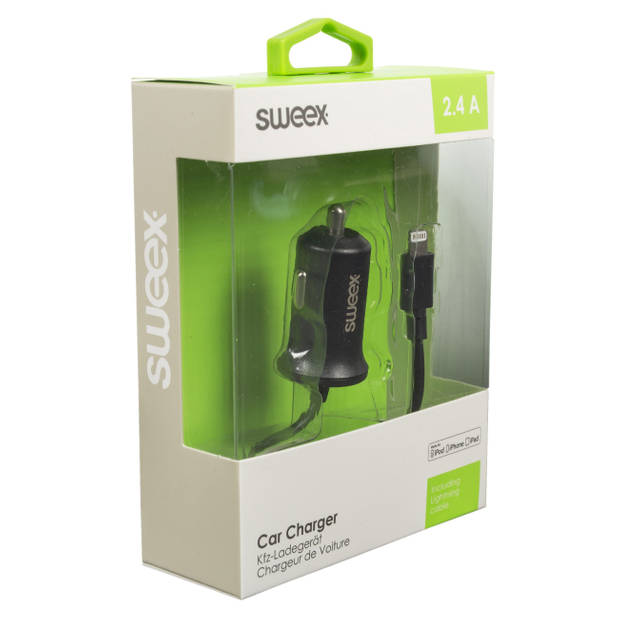 Sweex autolader 2.4 a apple - zwart