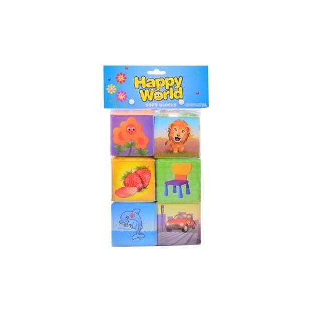 Johntoy zachte blokken Happy World 6 stuks