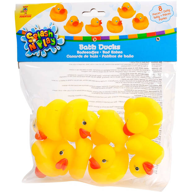 Johntoy badeendjes 8 stuks 5,5 cm geel
