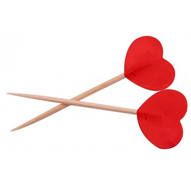 Valentijn - Rode hartjes cocktailprikkers 50 stuks