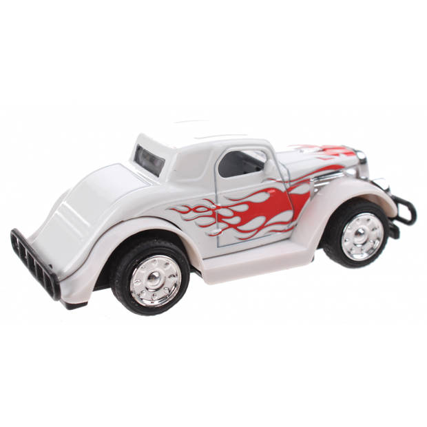 Toi-Toys Hot Rod wagen Pull Back diecast 9 cm wit