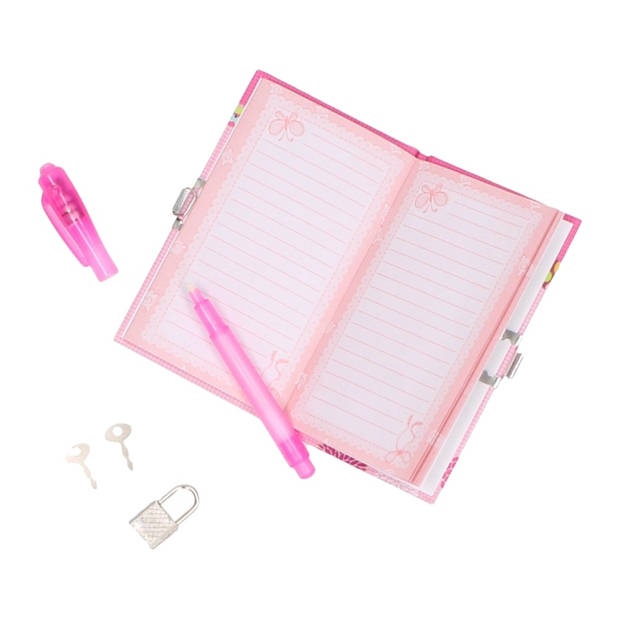 Johntoy geheim dagboek met slot en pen roze