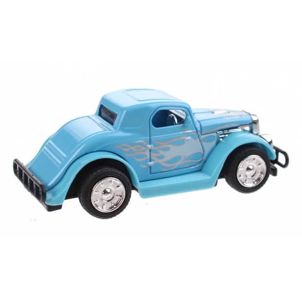 Toi-Toys Hot Rod wagen Pull Back diecast 9 cm blauw
