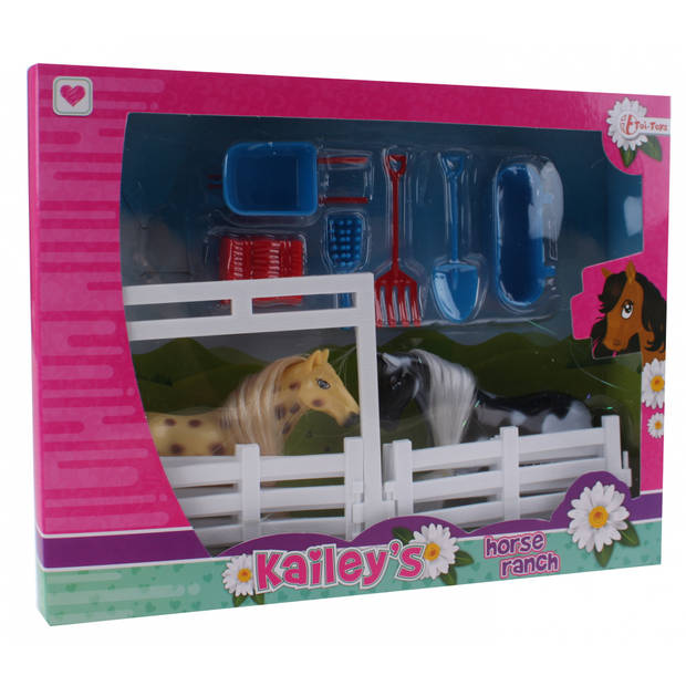 Toi-Toys speelset Kailey's paard 9-delig zwart/bruin
