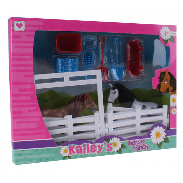 Toi-Toys speelset Kailey's paard 9-delig wit/bruin