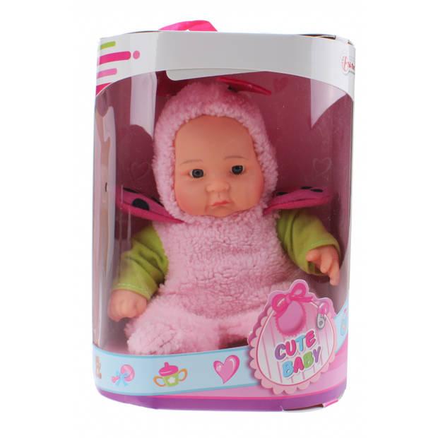 Toi-Toys Babypop Cute Baby met pyjama 20 cm roze