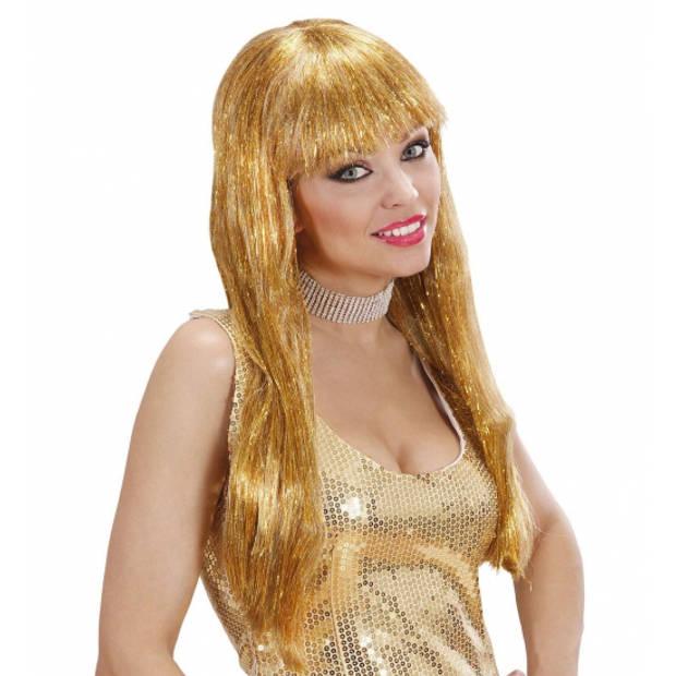 Gouden glitter pruik