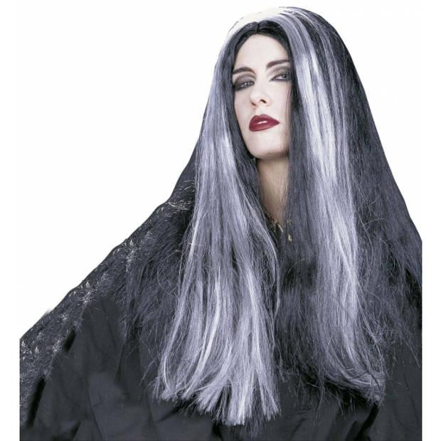 Heksenpruik met lang grijs/zwart haar